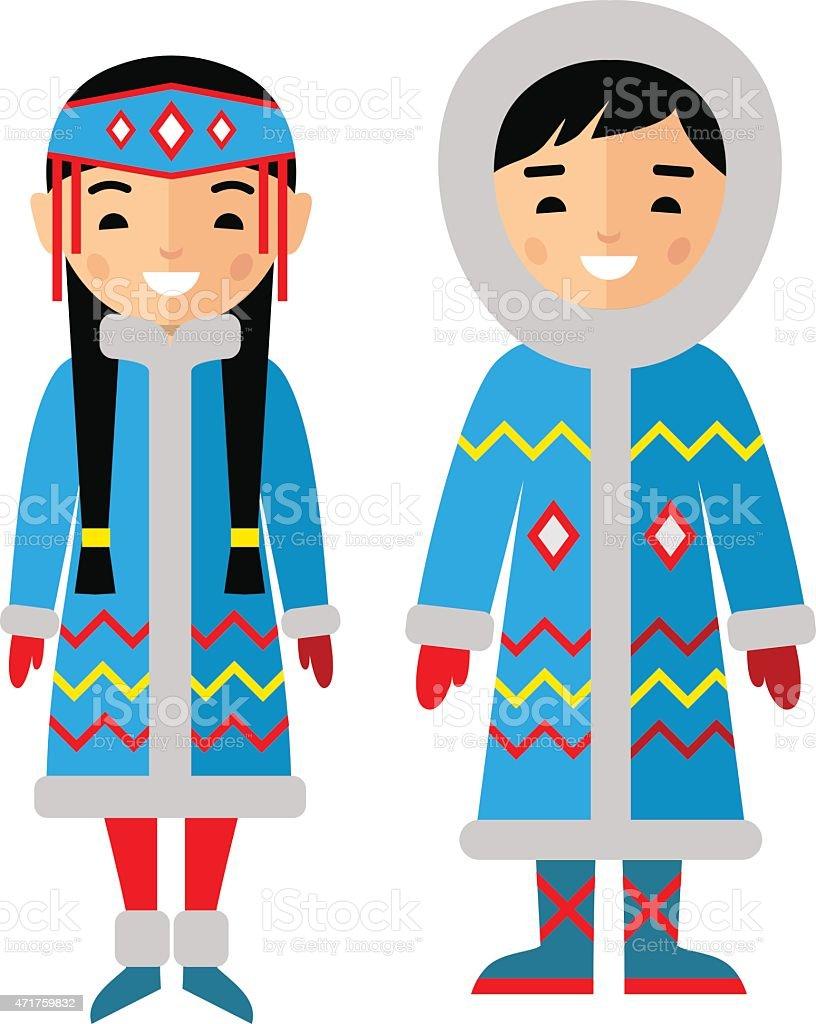 Vector illustration of eskimo children, boy, girl, people vector art illustration