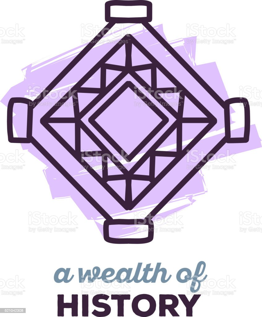Vector illustration of ethnic tribal purple color amulet sigh vector art illustration