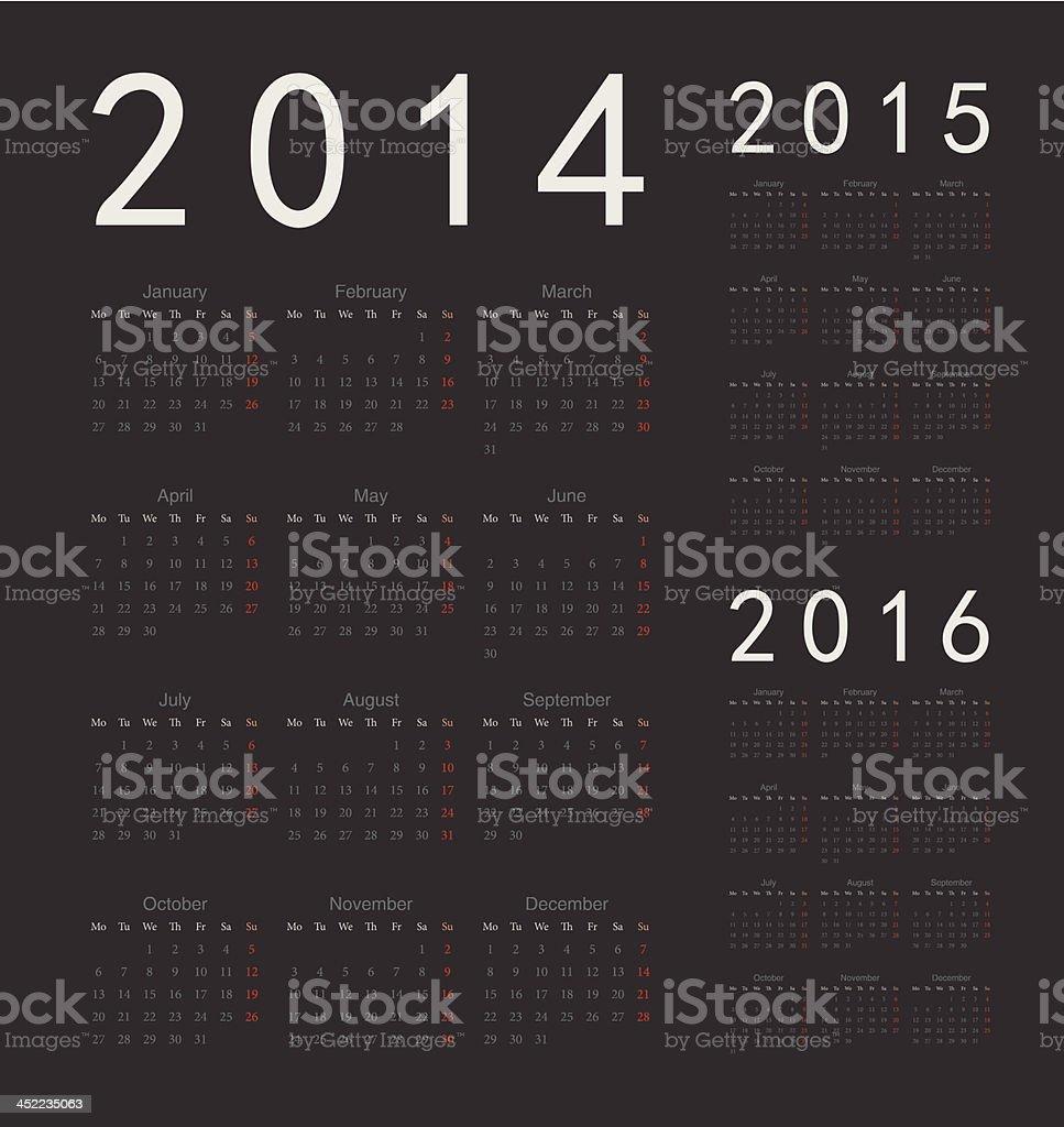 Vector illustration of European calendars for 2014-2016 royalty-free stock vector art