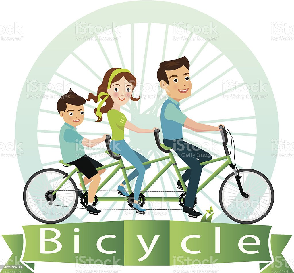 vector illustration of family riding bicycle. vector art illustration