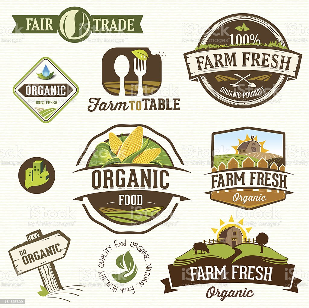 Vector illustration of farm fresh organic labels vector art illustration