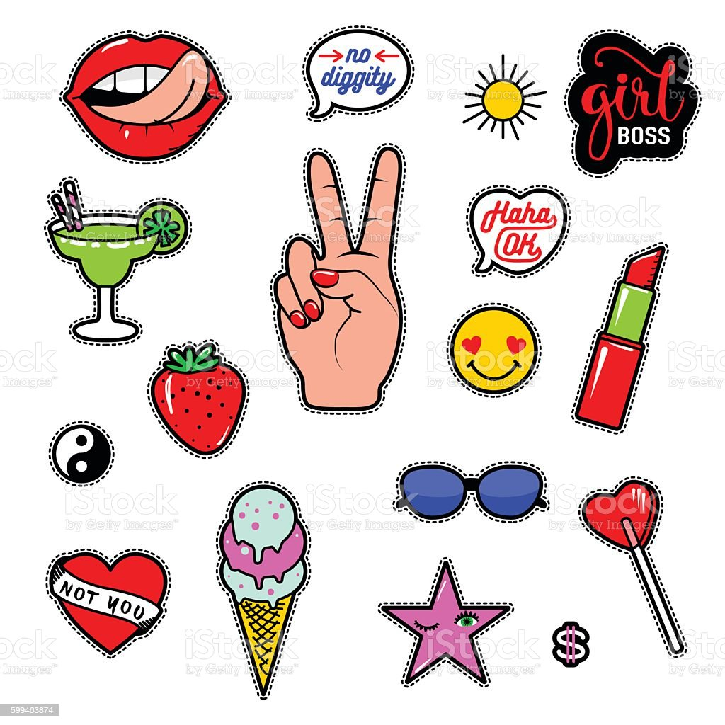 Vector illustration of fashion fun patch stickers with lips, lipstick vector art illustration