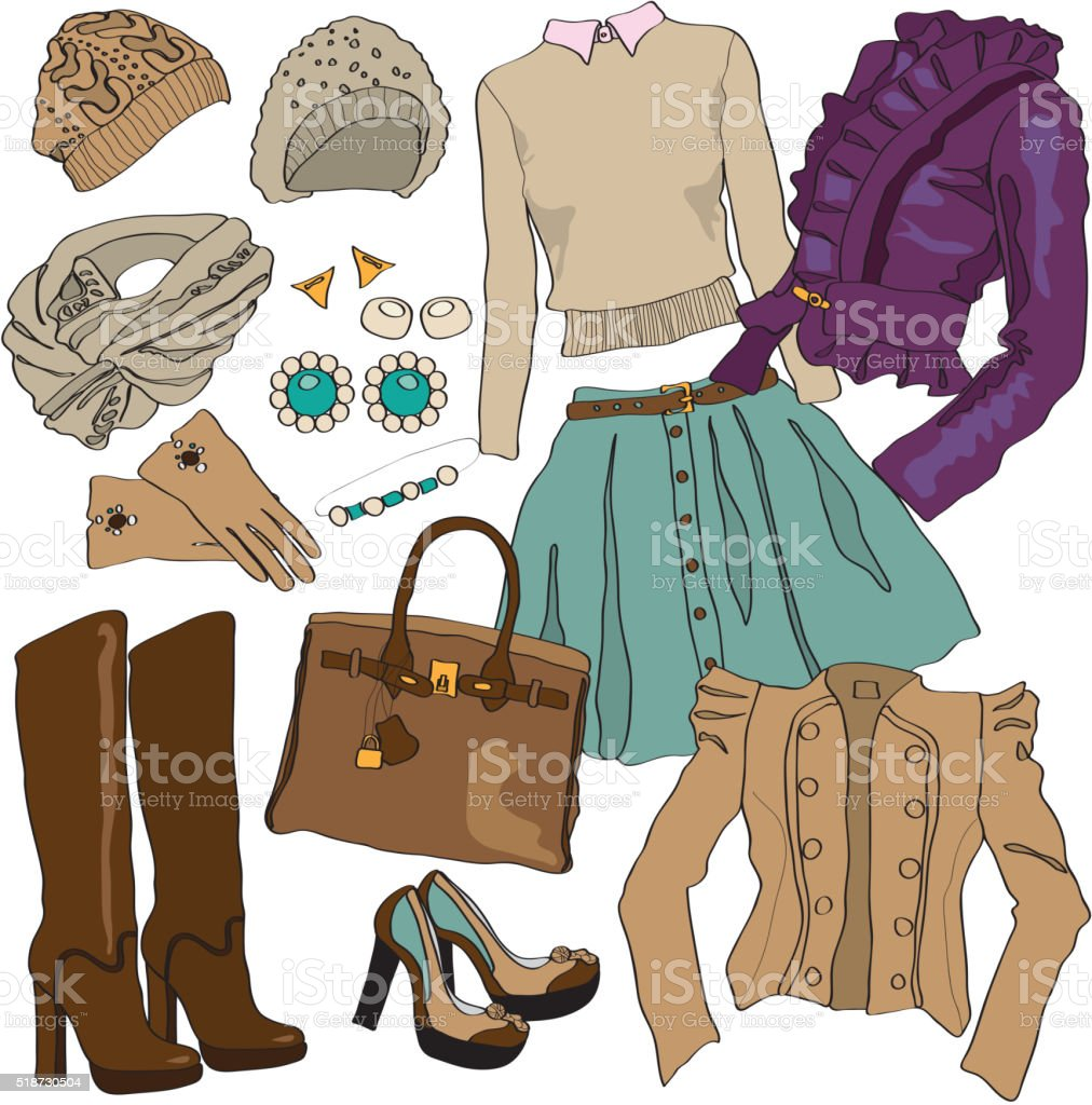 Vector illustration of female fashion collection clothes vector art illustration