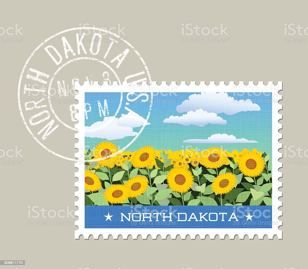 Vector illustration of field of sunflowers, North Dakota vector art illustration