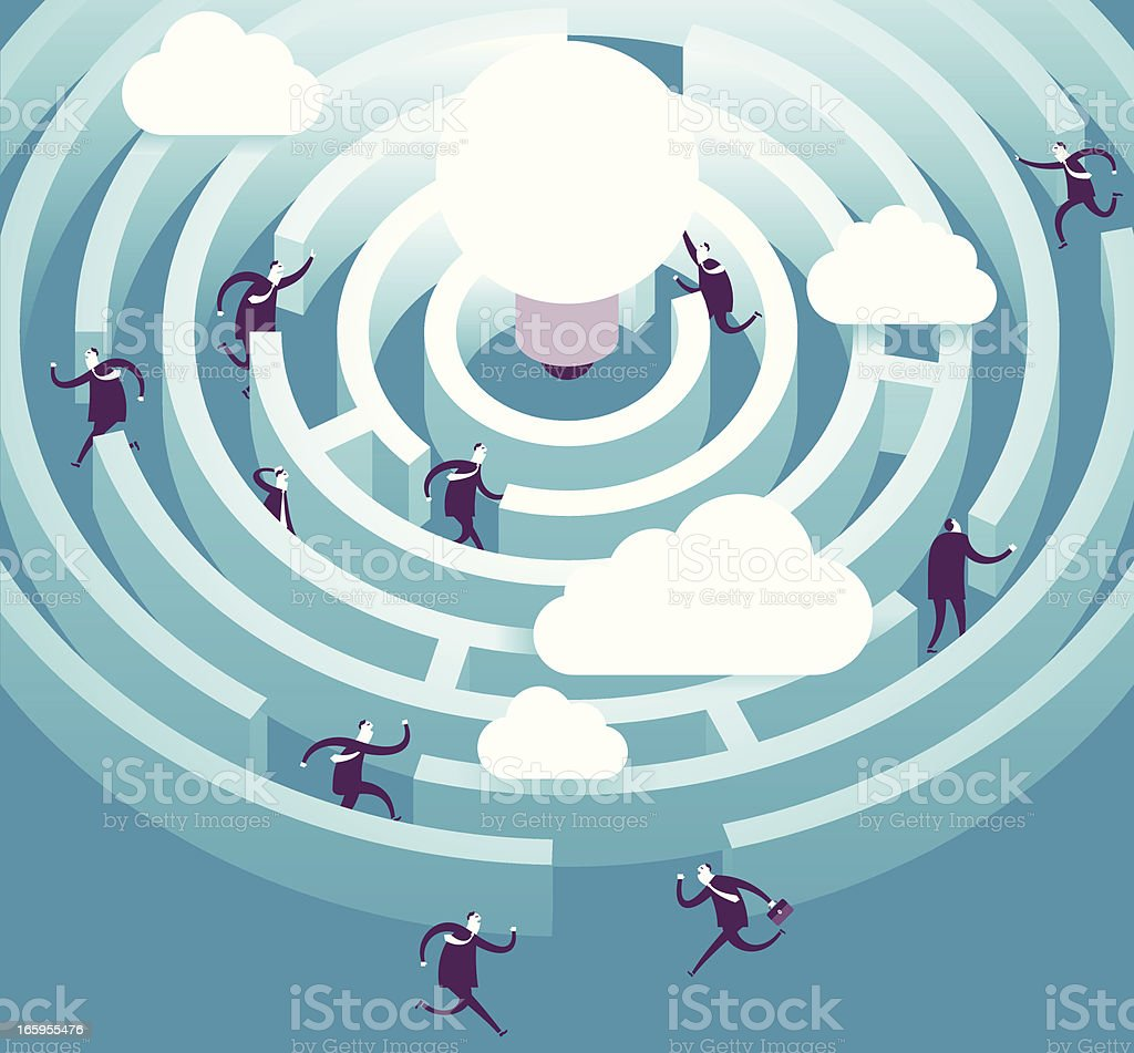 Vector illustration of figures in idea maze royalty-free stock vector art