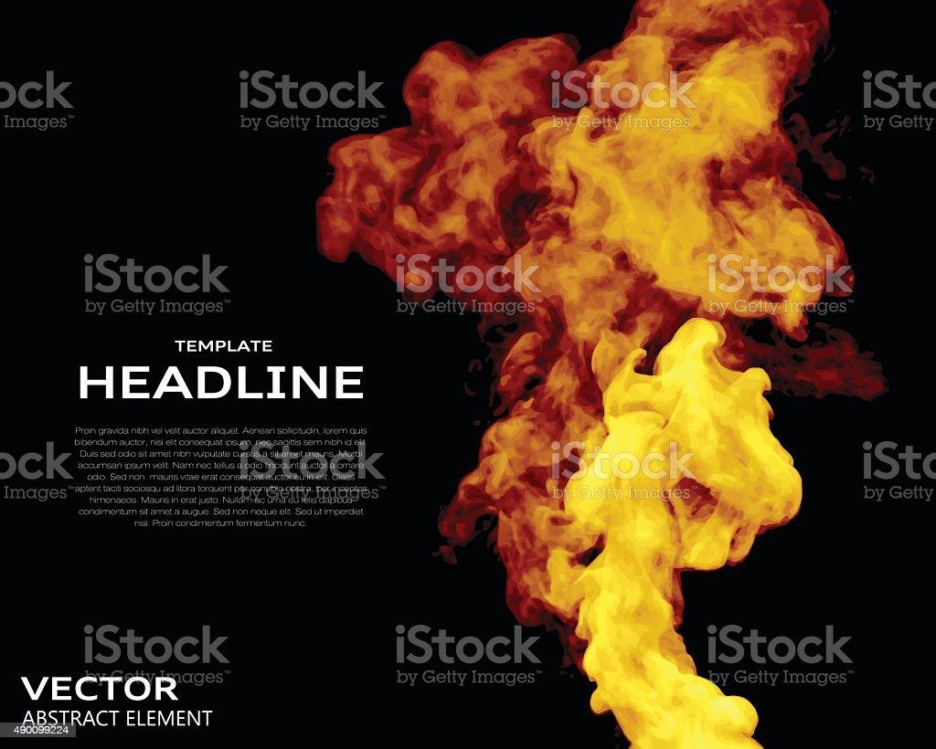 Vector illustration of fire elements on black. vector art illustration