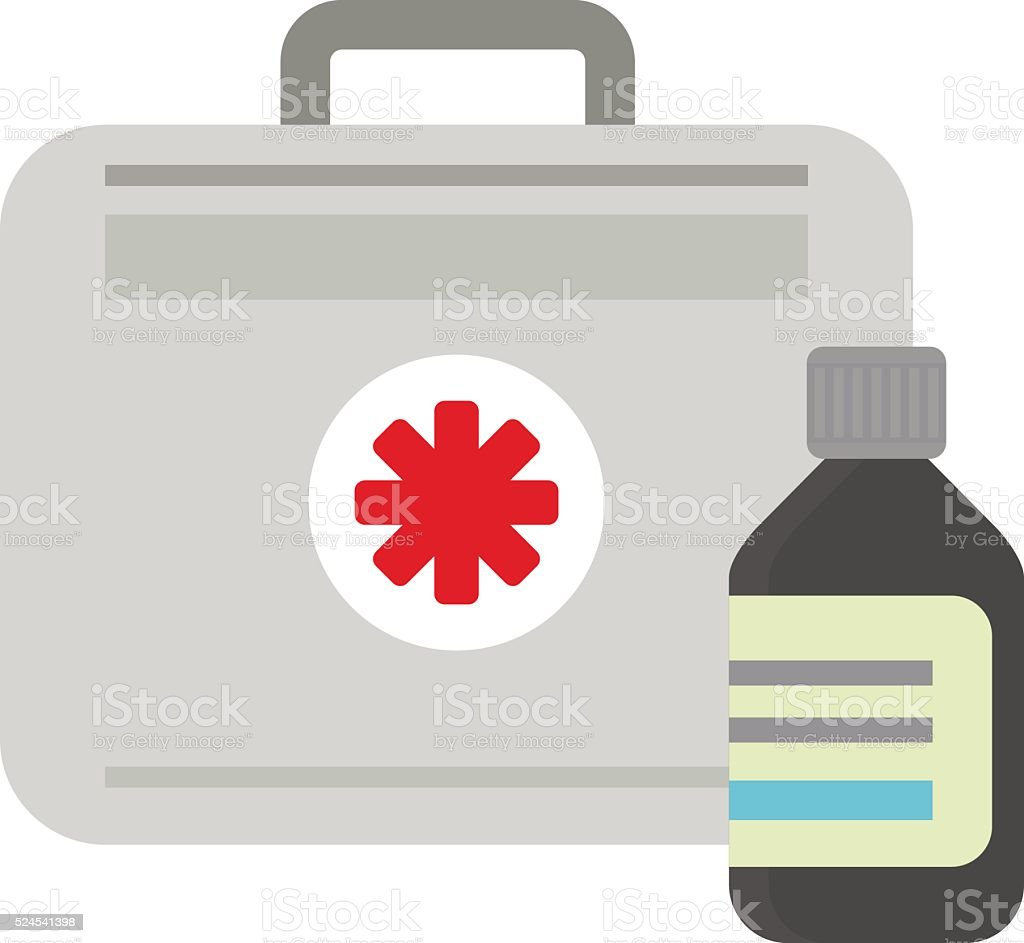 Vector illustration of first aid kit box medical emergency healthcare vector art illustration