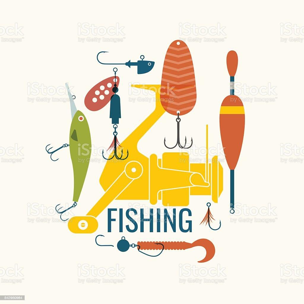 Vector illustration of fishing equipment vector art illustration