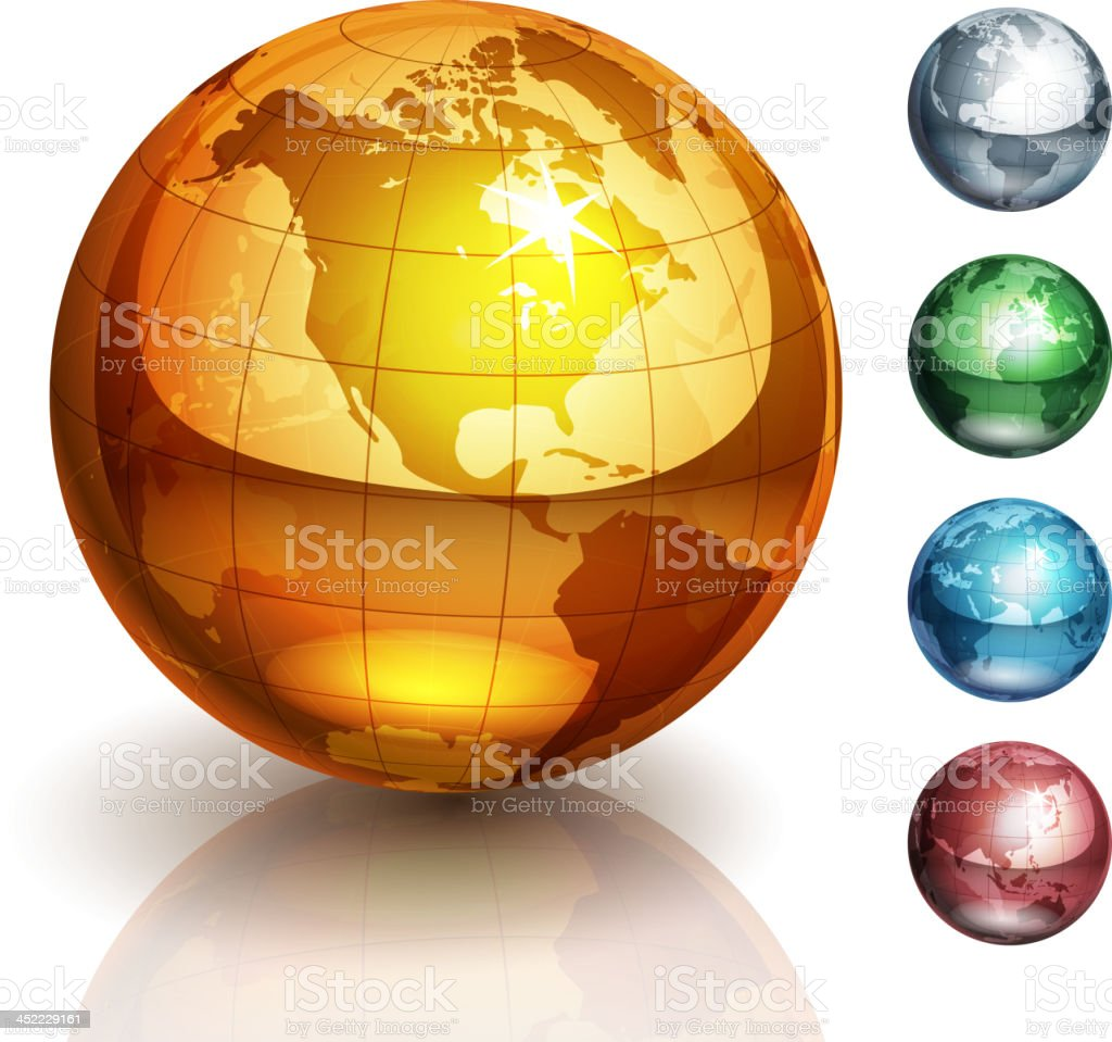 Vector illustration of five metallic globes royalty-free stock vector art