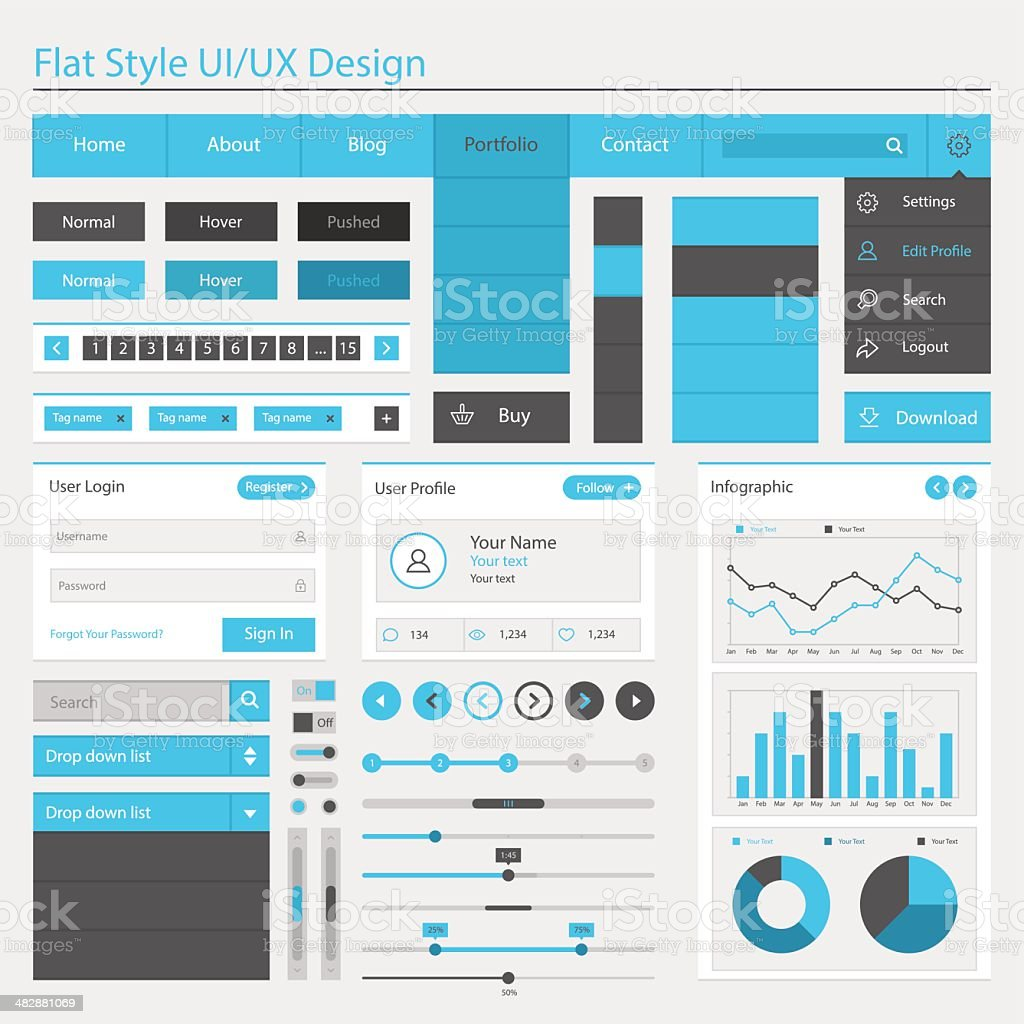 Vector illustration of flat style UI or UX design vector art illustration
