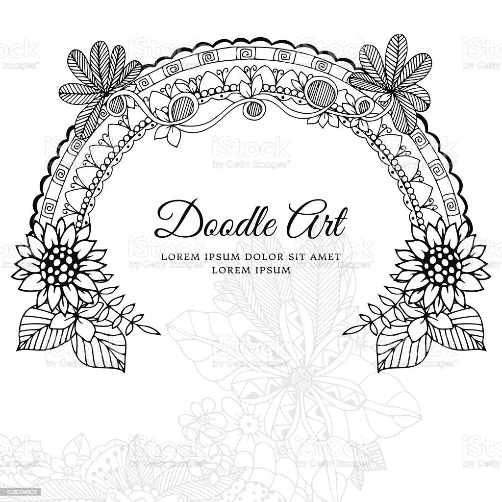 Anti stress colouring book free - Vector Illustration Of Floral Frame Dudlart Coloring Book Anti Stress Royalty Free Stock