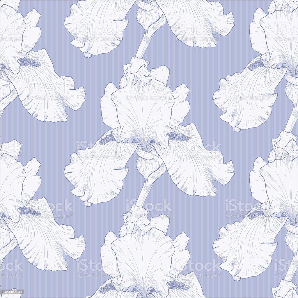 Vector illustration of floral pattern on striped blue vector art illustration