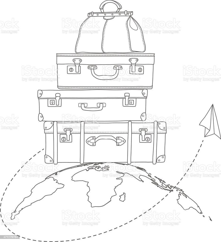Ilustração em vetor de voar de ar ao redor de malas de viagem vetor e ilustração royalty-free royalty-free