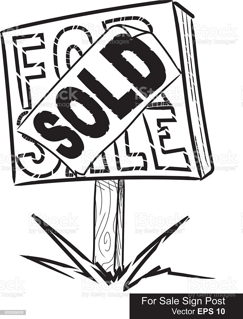 For Sale Sold Sign: Vector Illustration Of For Sale And Sold Sign Post Stock
