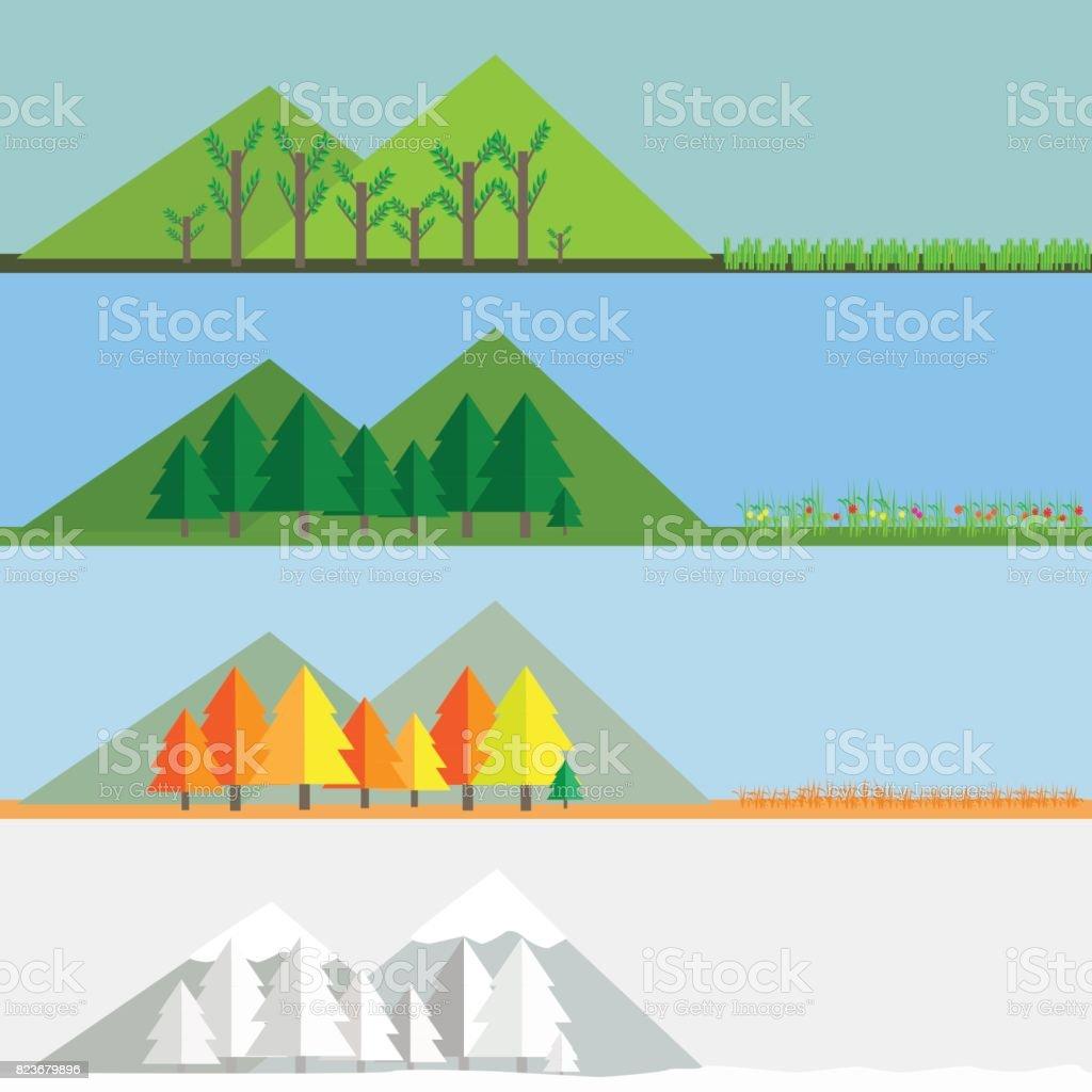 vector illustration of Four season landscape nature changing vector art illustration