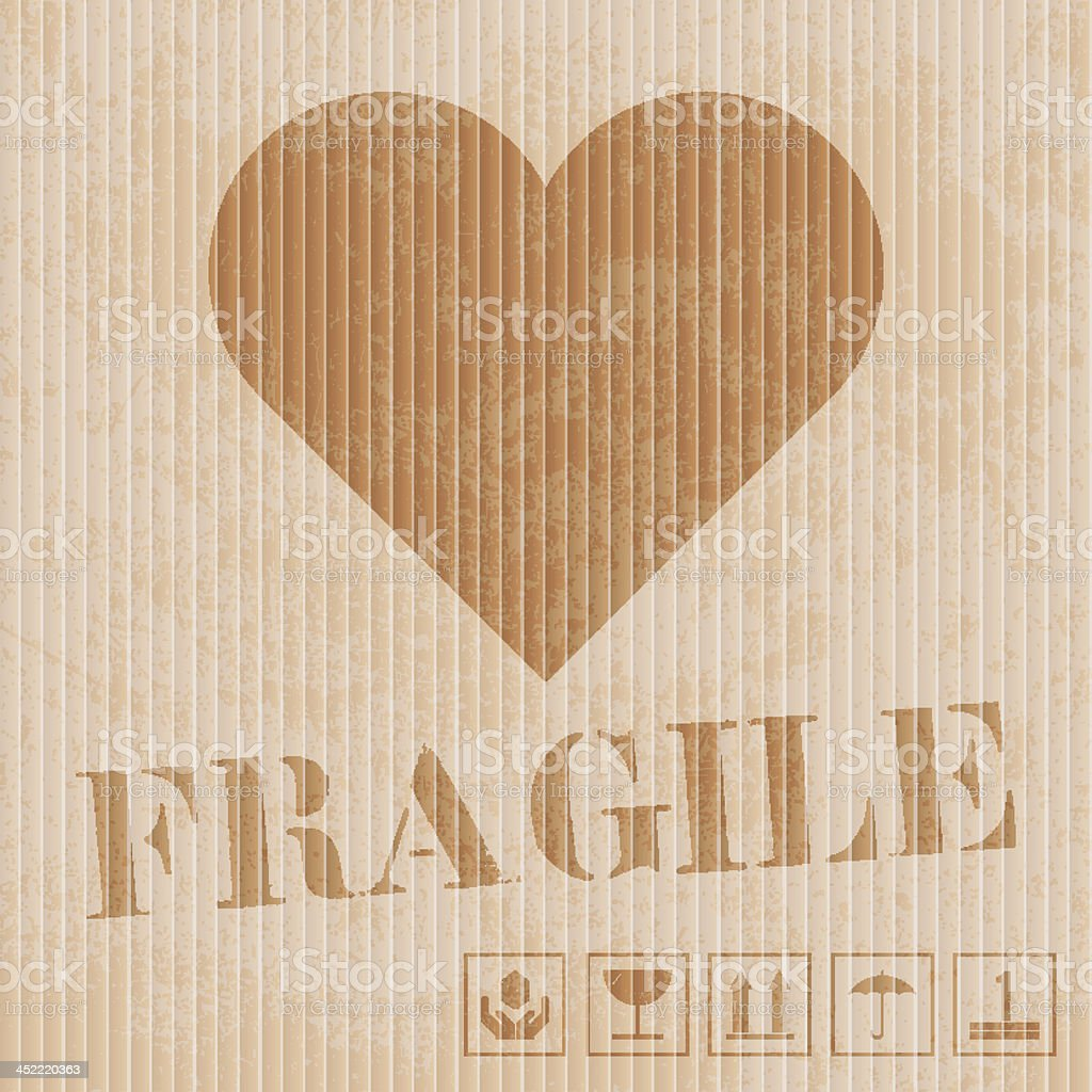 vector illustration of fragile heart on cardboard royalty-free stock vector art