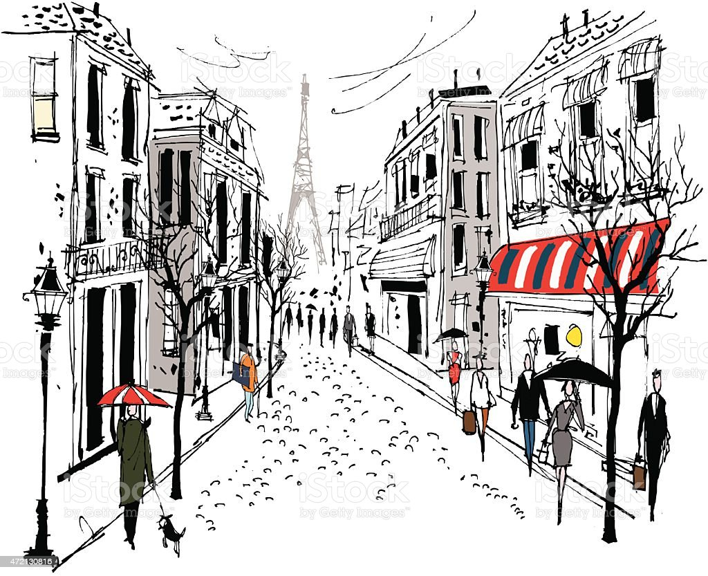 Vector illustration of French street scene with pedestrians vector art illustration