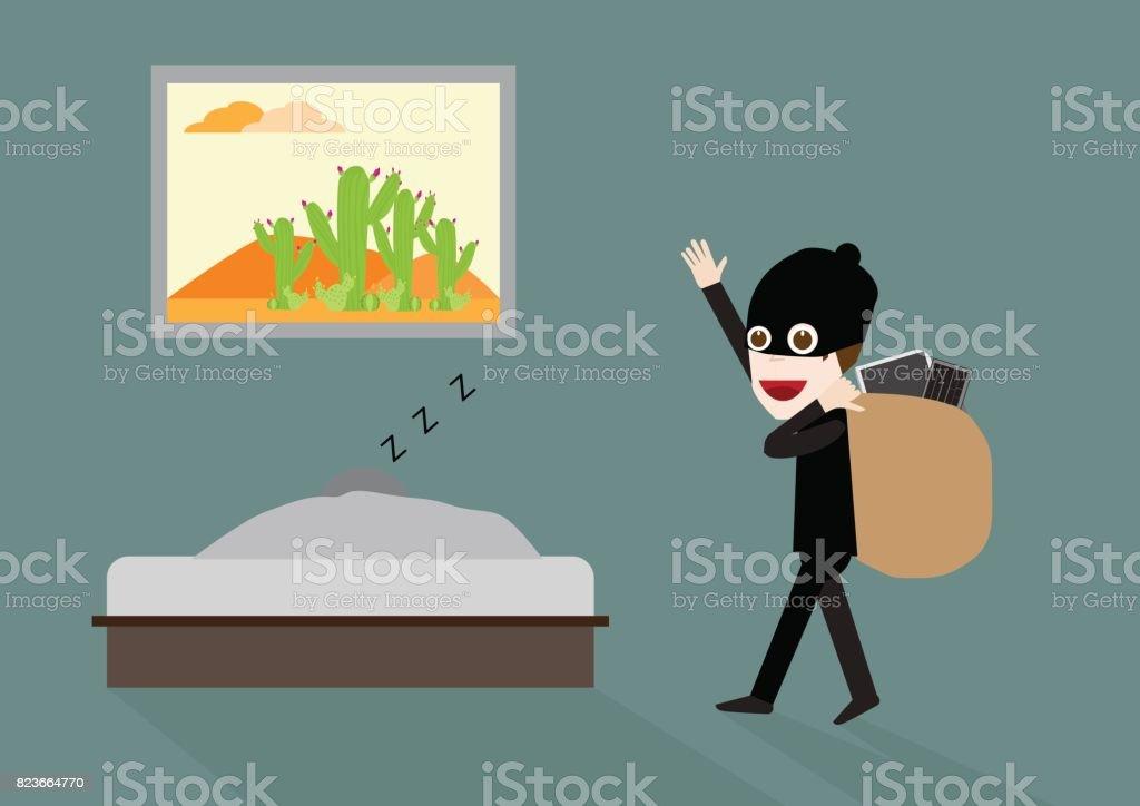vector illustration of funny thief cartoon character in bedroom . vector art illustration