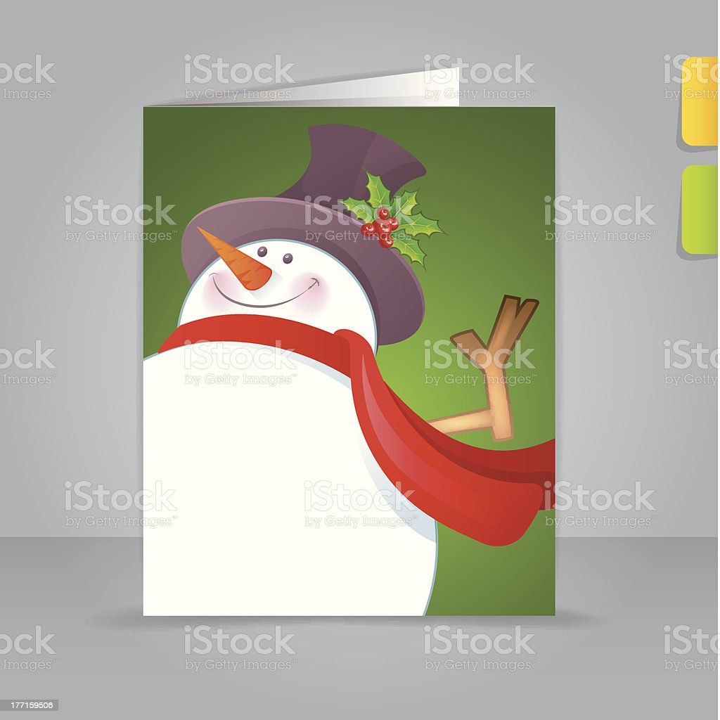 Vector illustration of Gift card with funny snowman royalty-free stock vector art