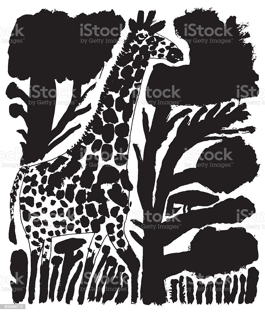 Vector illustration of giraffe in the wild vector art illustration