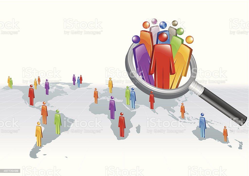 Vector illustration of global search concept vector art illustration