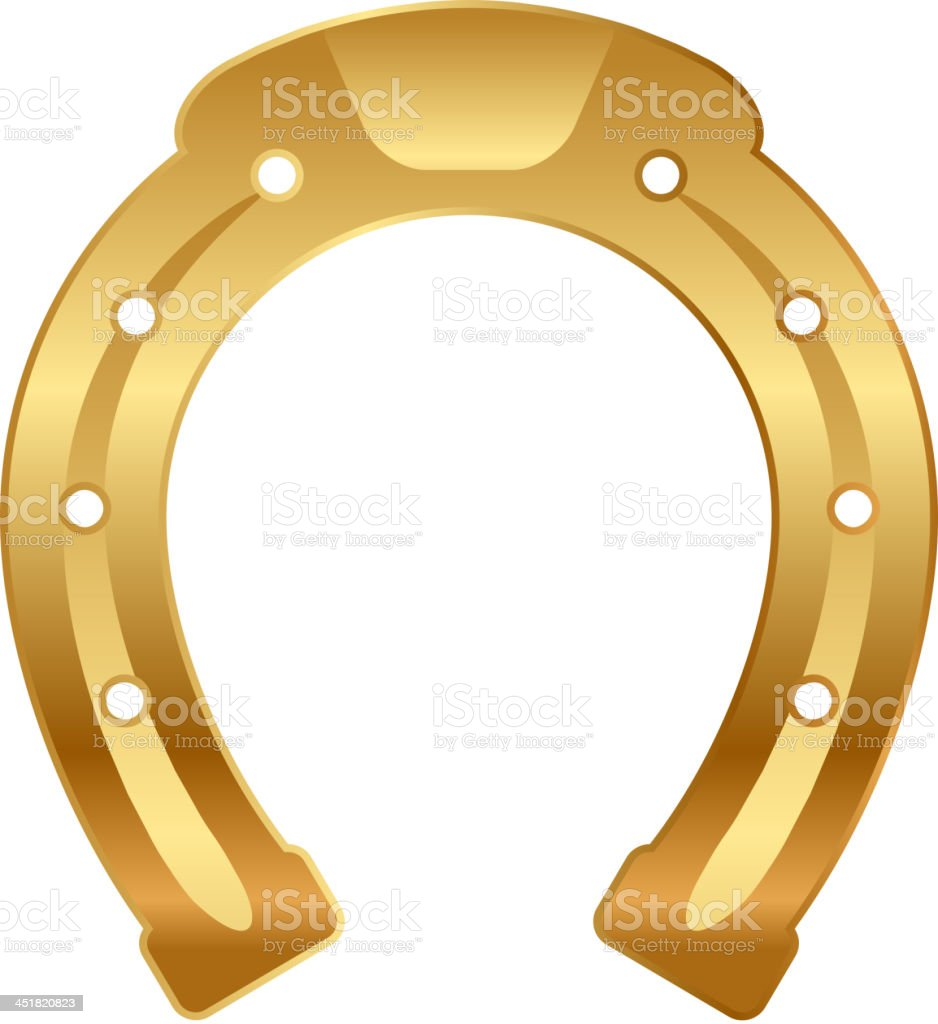 Vector illustration of gold horseshoe (good luck talisman) vector art illustration