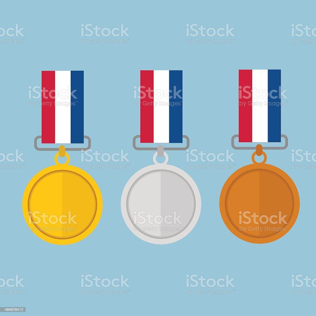 Vector illustration of gold medal gold medal and copper medal, vector art illustration