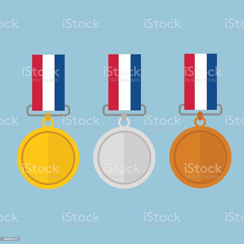 Vector illustration of gold medal gold medal and copper medal, vector art illustration