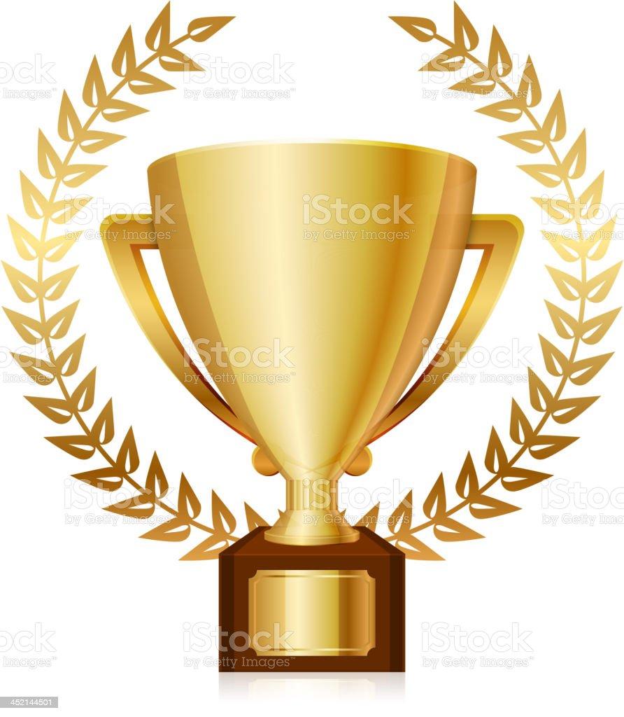 Vector illustration of gold shiny trophy and laurels vector art illustration