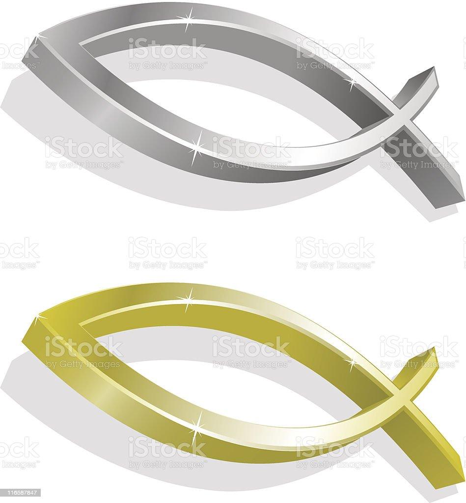 Vector illustration of golden and silver icthus vector art illustration
