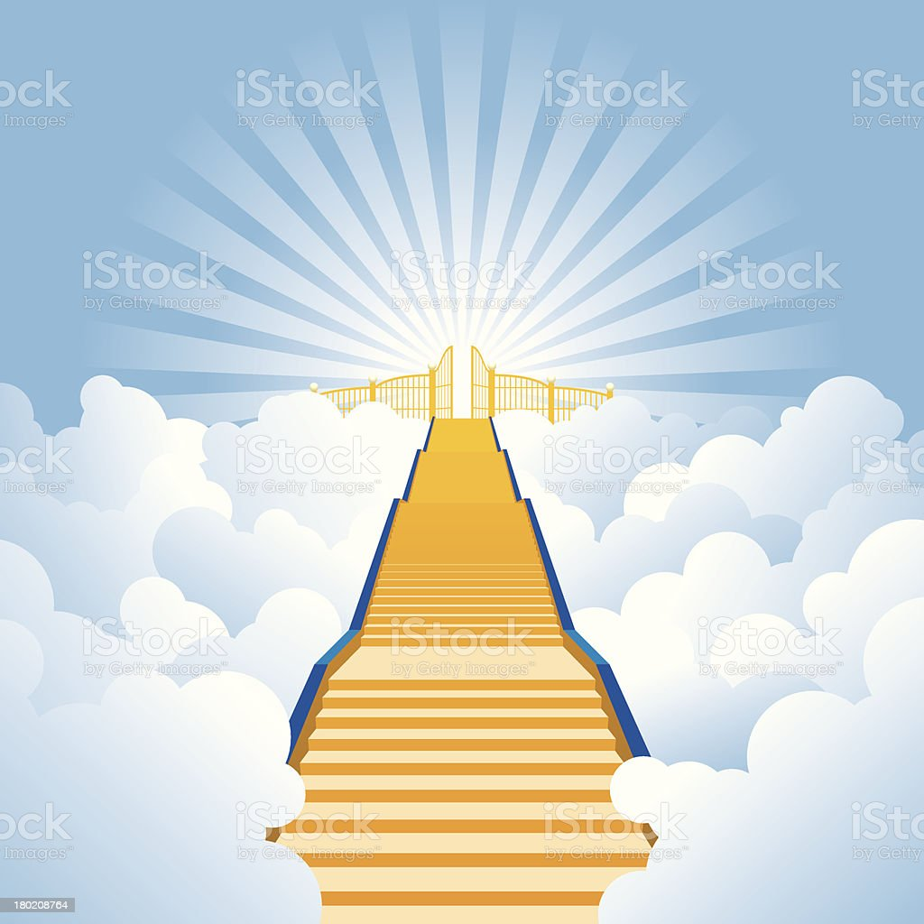 Golden stairway leading to the pearly gates of Heaven. vector art illustration