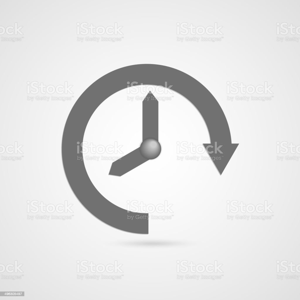 Vector illustration of gray arrow clock icon vector art illustration