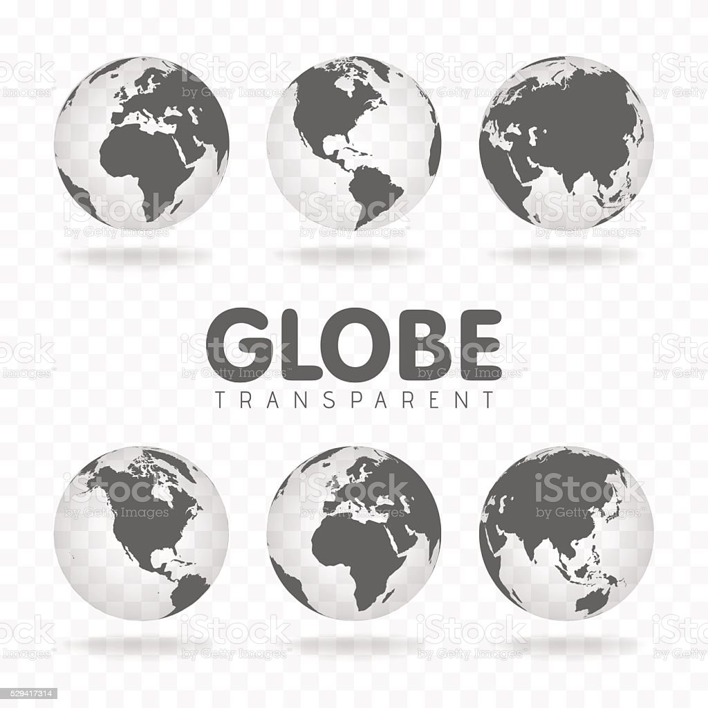 Vector Illustration of gray globe icons with different continents vector art illustration