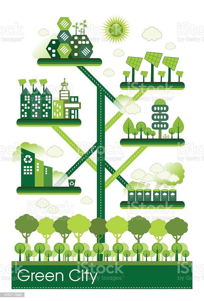 Vector illustration of green eco city vector art illustration
