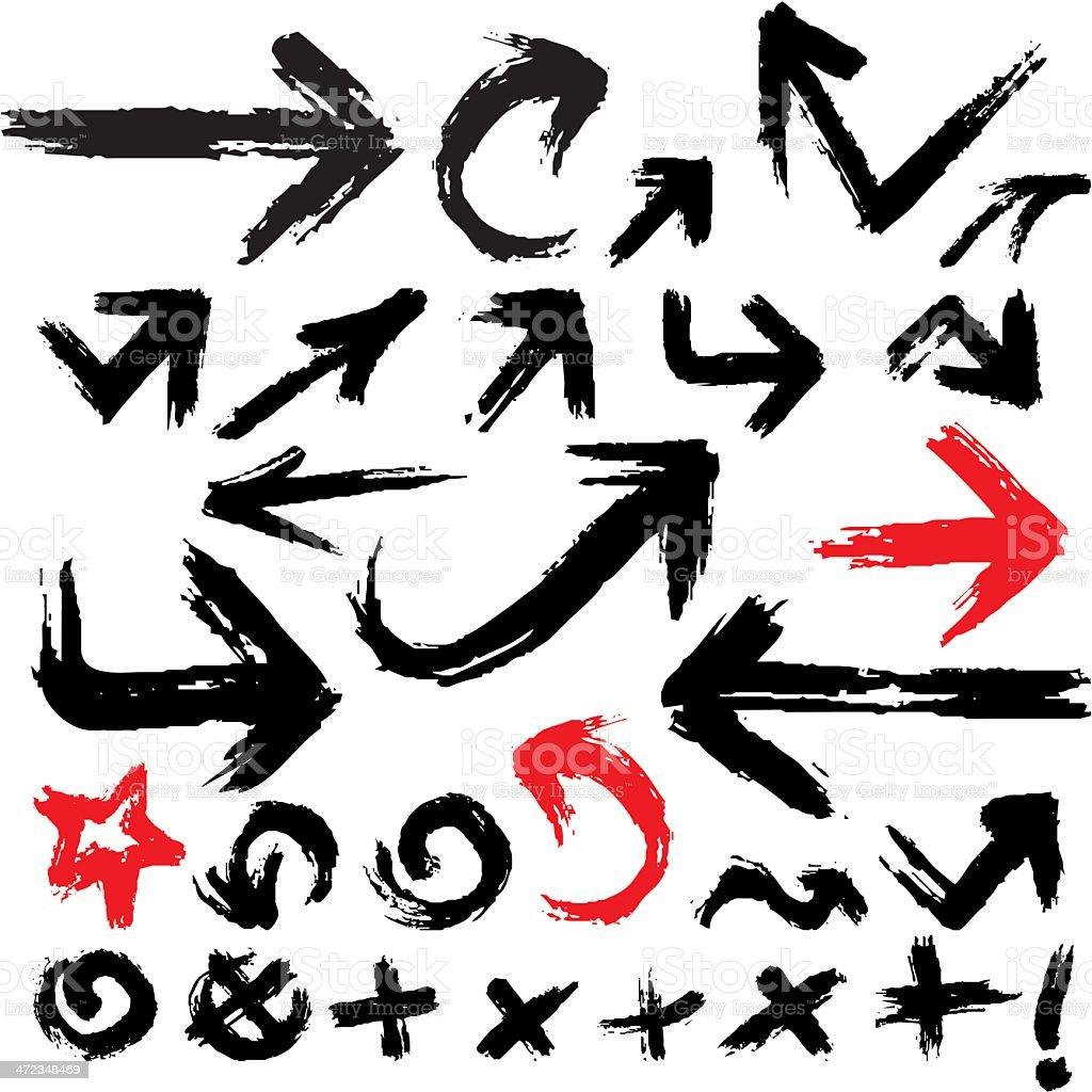 Vector illustration of grunge arrow set vector art illustration