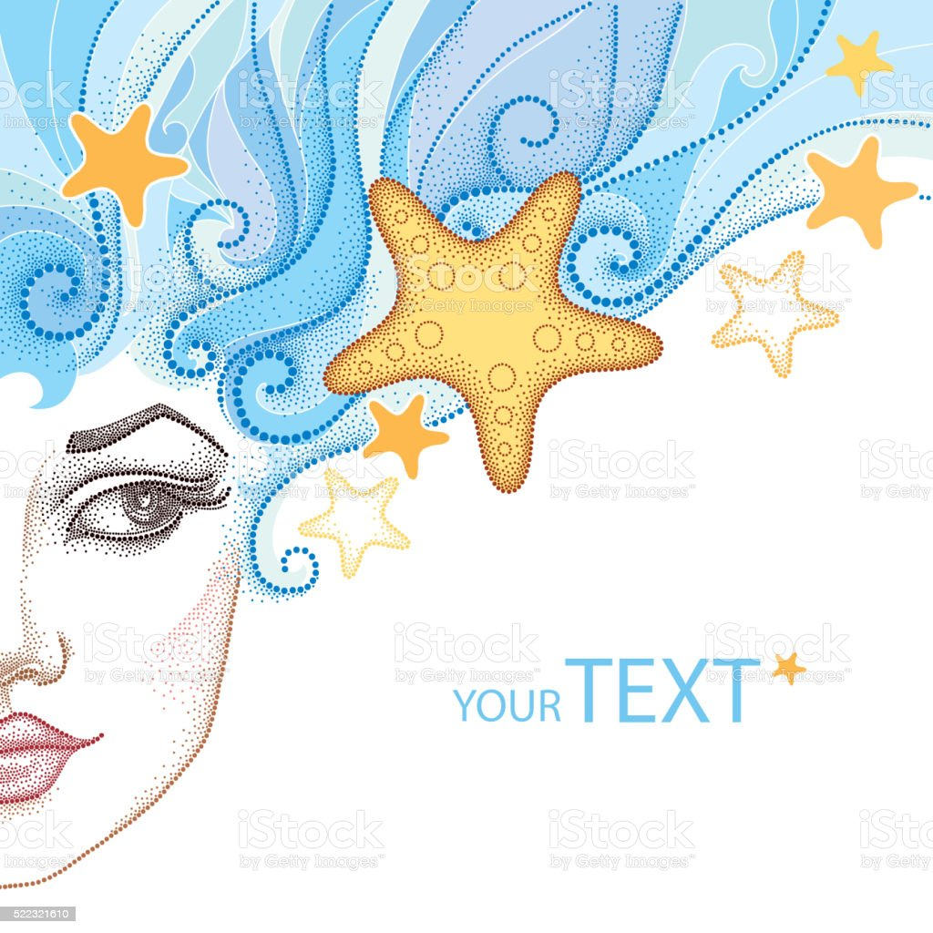 Vector illustration of half dotted beautiful girl face with starfish. vector art illustration