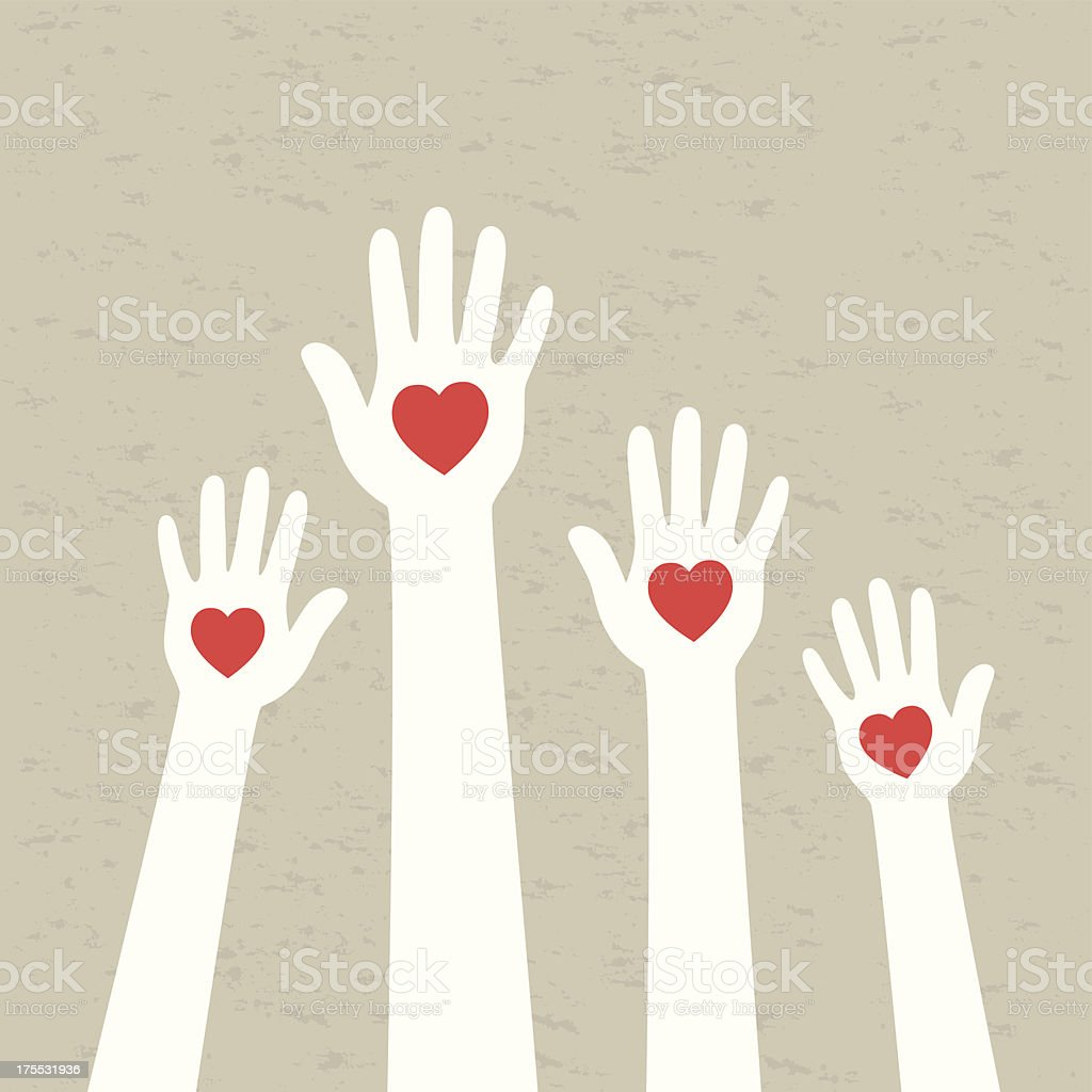 Vector illustration of hands and hearts vector art illustration