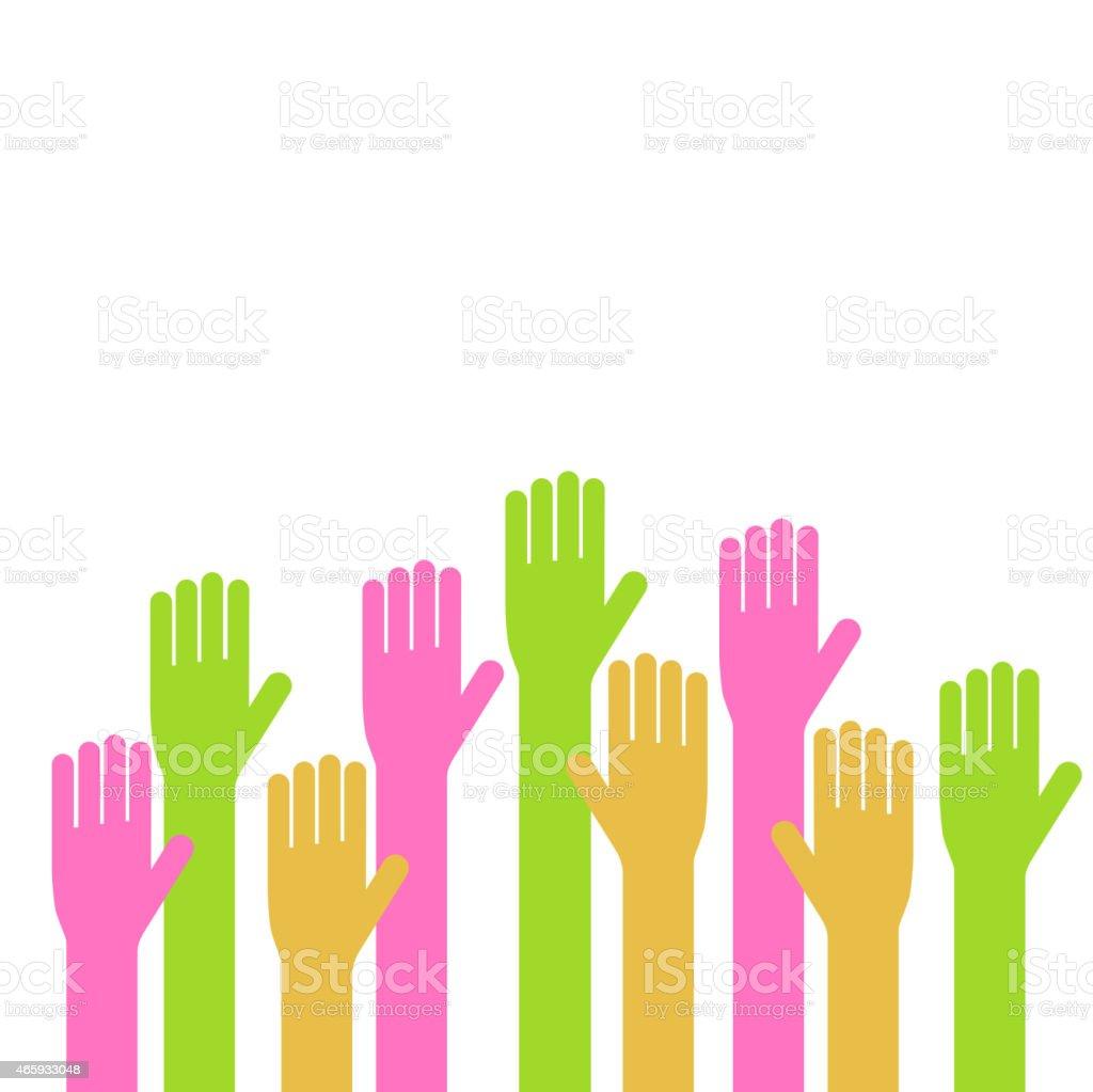Vector illustration of hands on white background vector art illustration