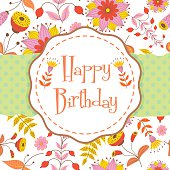 Vector illustration of happy birthday greeting card