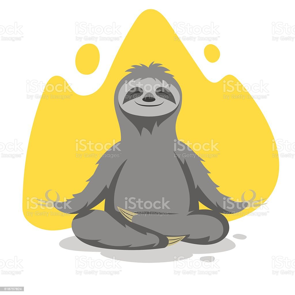 Vector illustration of happy cute sloth practicing yoga exercise vector art illustration