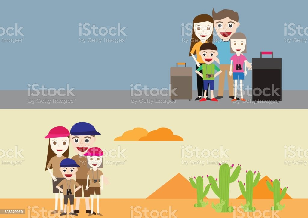 Vector illustration of happy family father, mother, daughter and son traveling vector art illustration