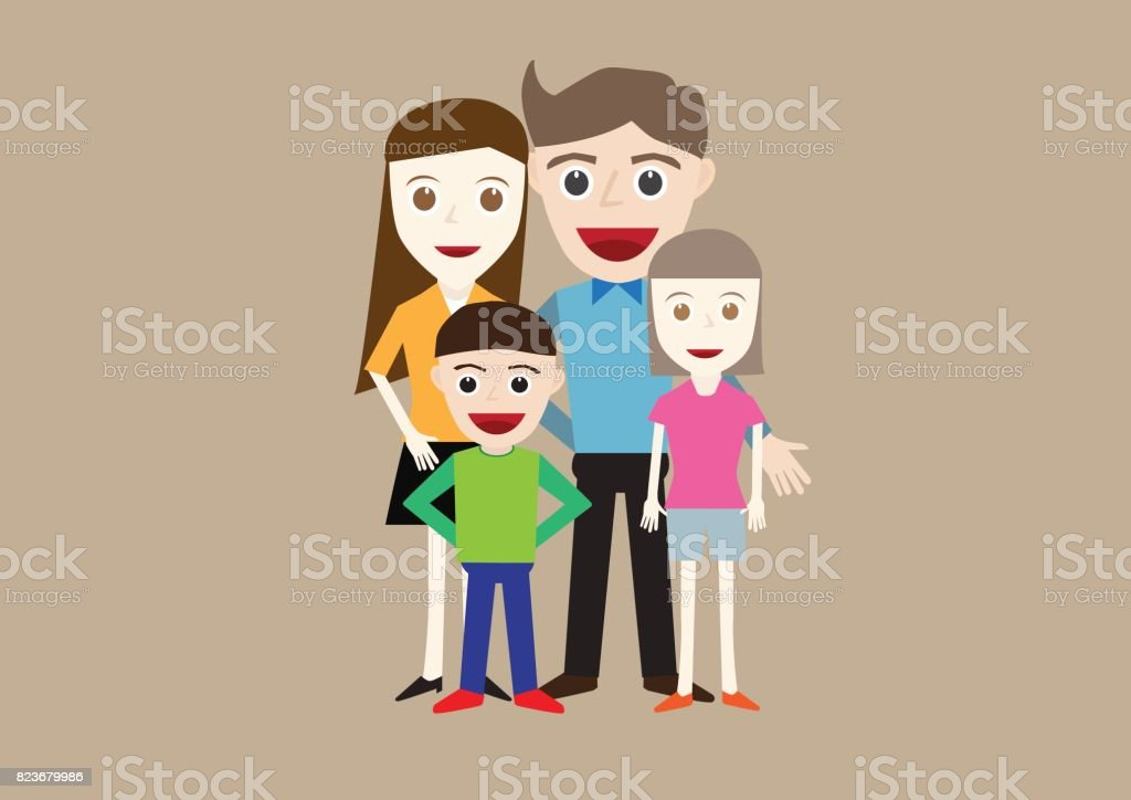 Vector illustration of happy family portrait father, mother, daughter and son vector art illustration