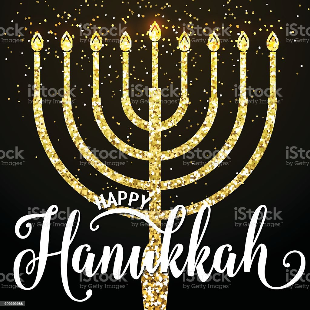 Vector illustration of happy Hanukkah gold greeting card vector art illustration