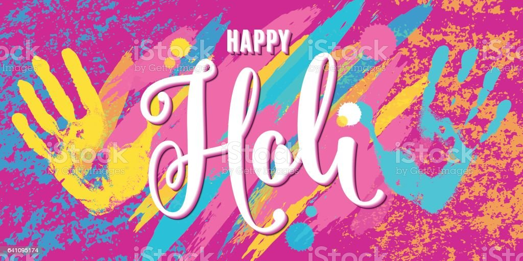 Vector illustration of happy holi festival of colors greeting horizontal banner vector art illustration