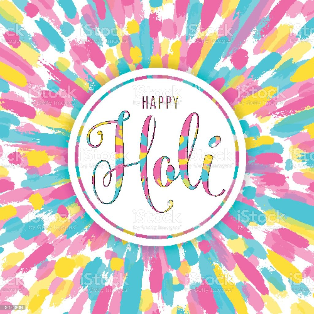 Vector illustration of happy holi festival of colors greeting card vector art illustration