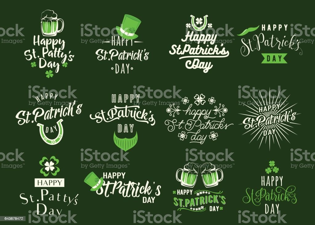Vector illustration of happy patricks day typography text design vector art illustration