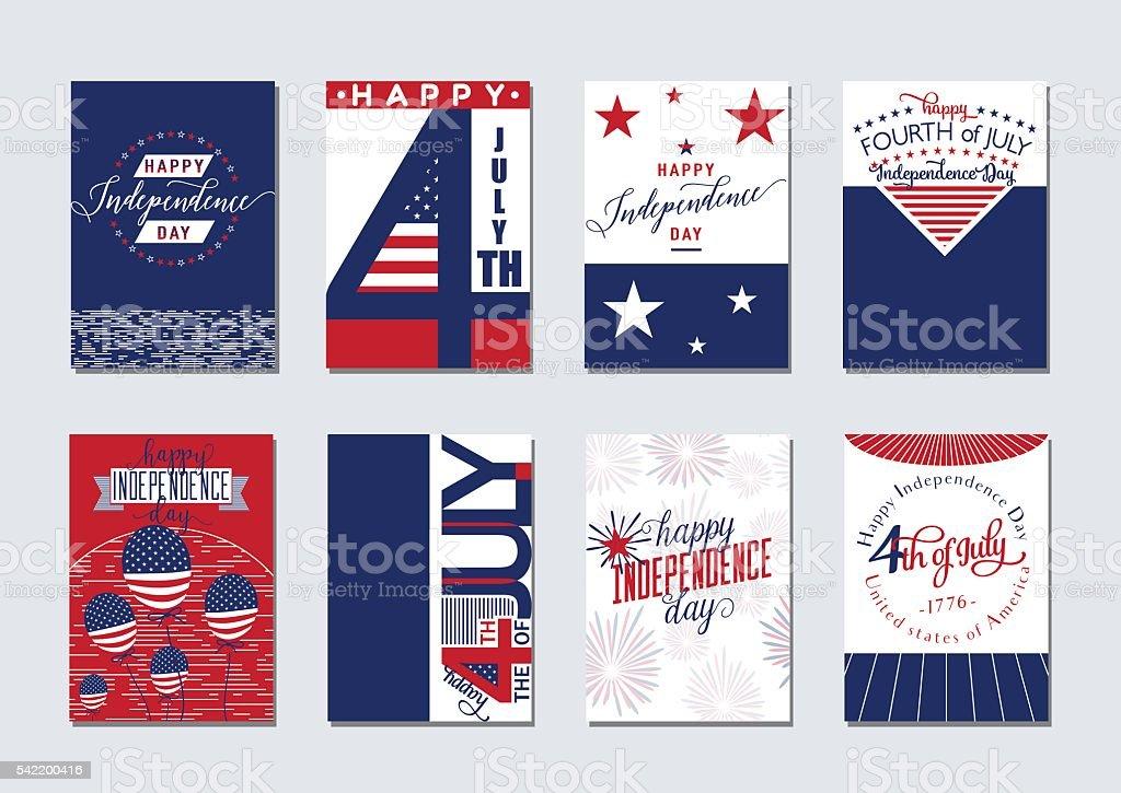 Vector illustration of happy USA Independence day felicitation background set vector art illustration