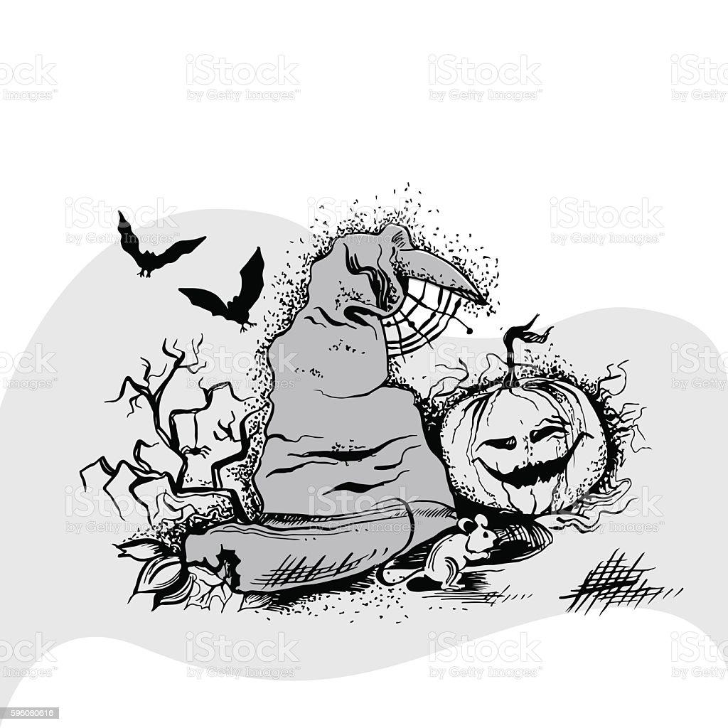 vector illustration of hat, pumpkin and two bats vector art illustration