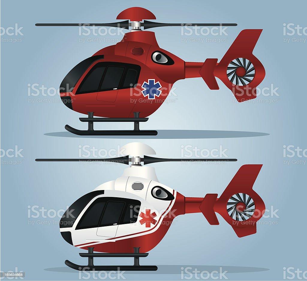 Vector illustration of helicopter ambulance vector art illustration