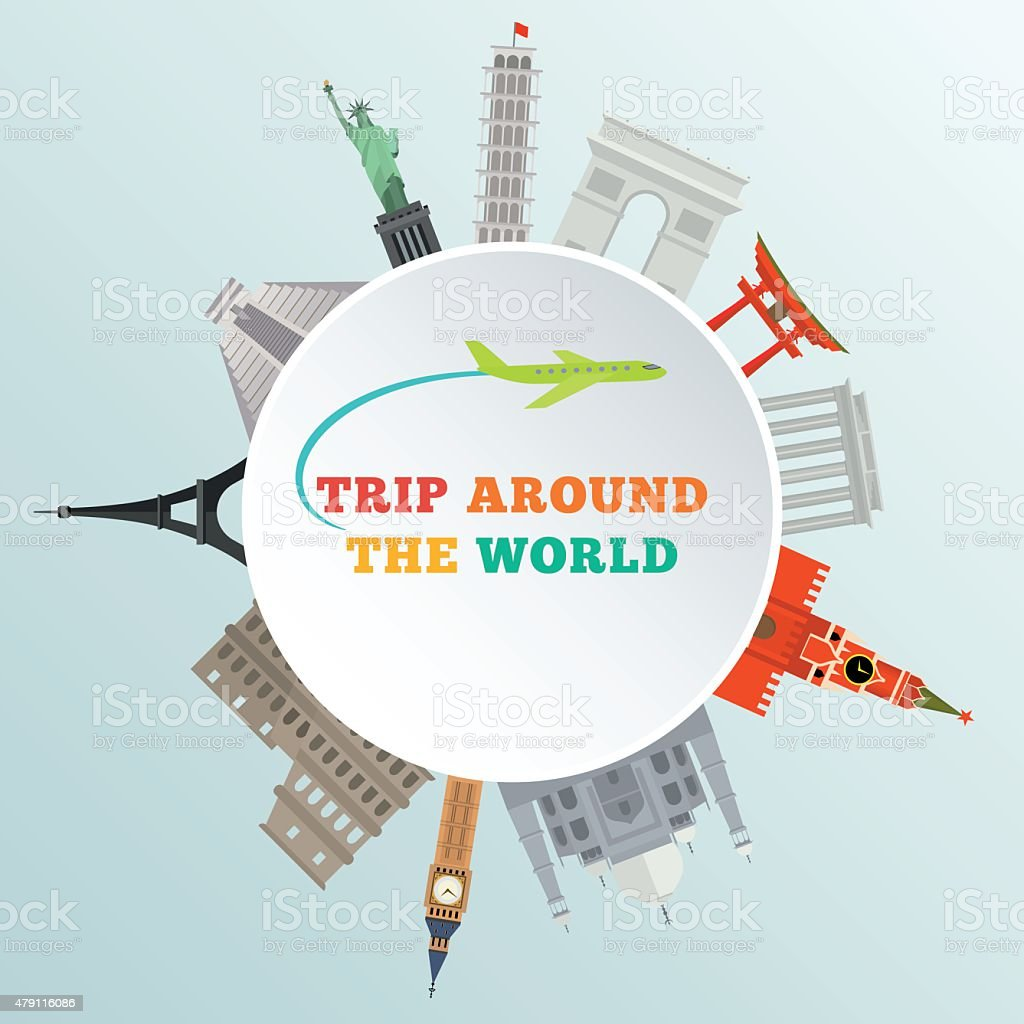 vector illustration of historical monument around earth vector art illustration